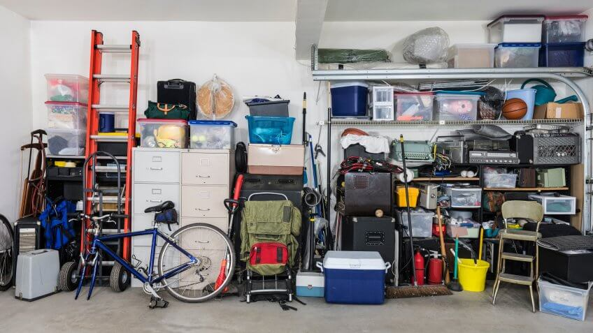 cluttered garage for sale