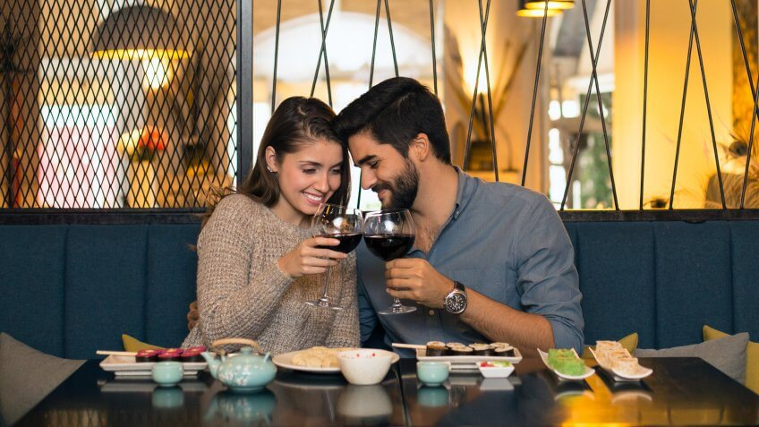 Young couple in a restaurant, drinking wine.