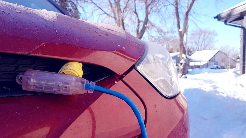 engine block heater plugged in winter car