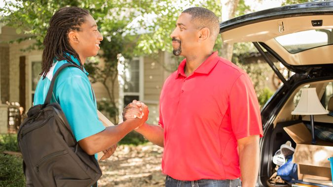African descent boy heads off to college or moves away from home.