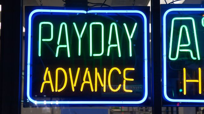 Payday Advance Check Cashing Neon Sign.