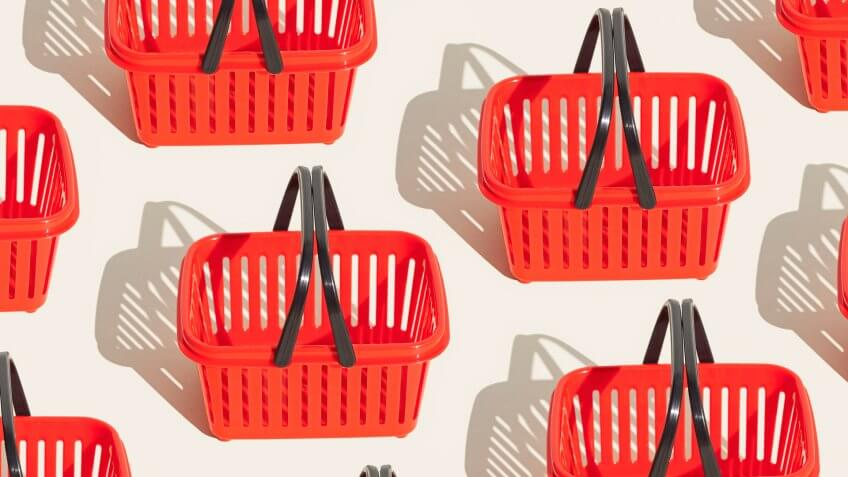 Red shopping basket pattern.