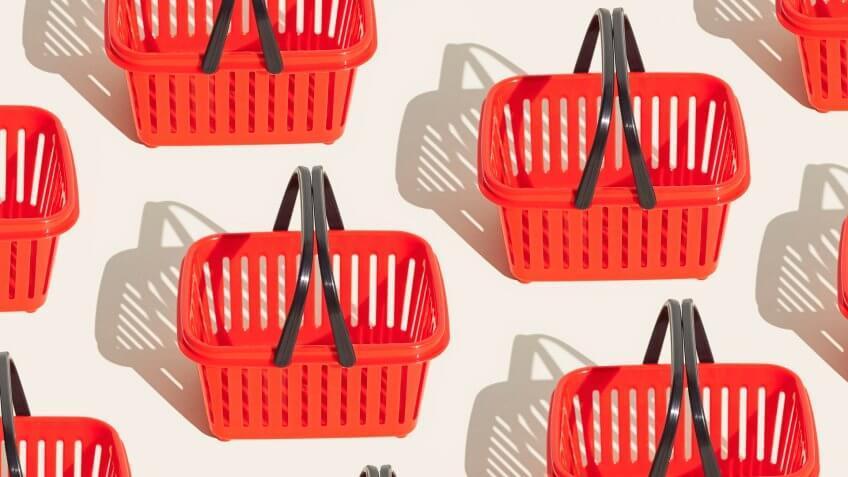 Red shopping basket pattern.