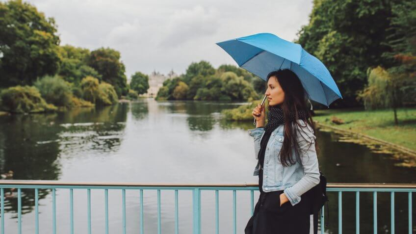 Young woman walking with umbrella in the London public park.