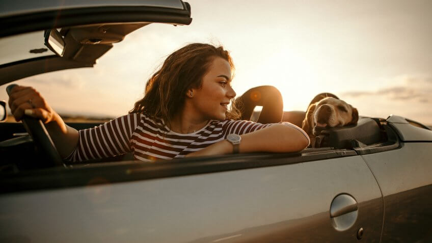 Woman driving with dog to sunset.