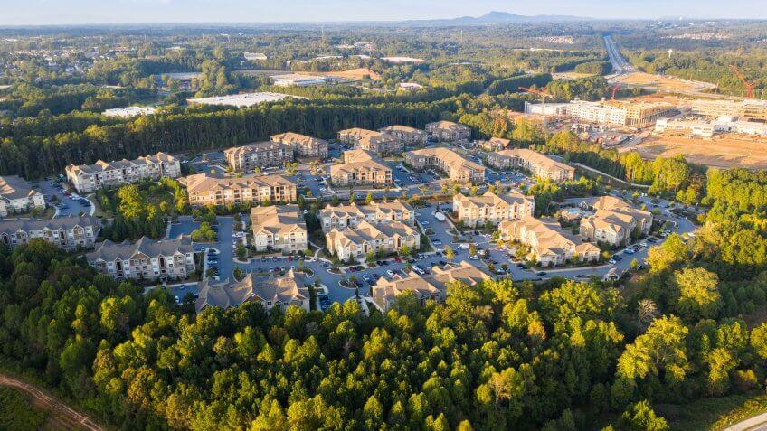 Aerial view of suburban communities in downtown alpharetta georgia.