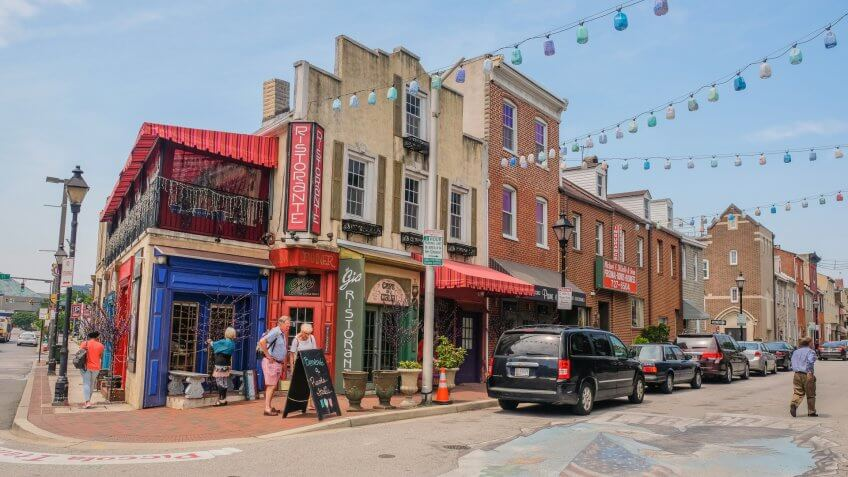 Little Italy district in Baltimore, Maryland, USA: May 5, 2018: Main street in Little Italy of Baltimore City.