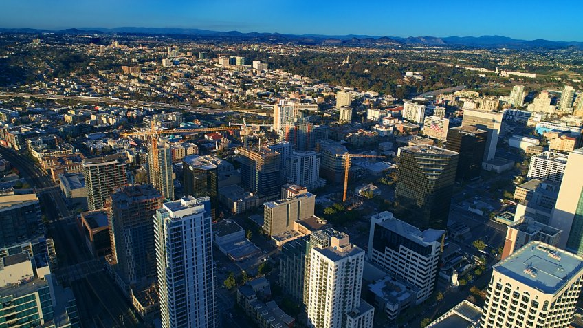 Stunning aerial view of bankers hill and little Italy district downtown San Diego.