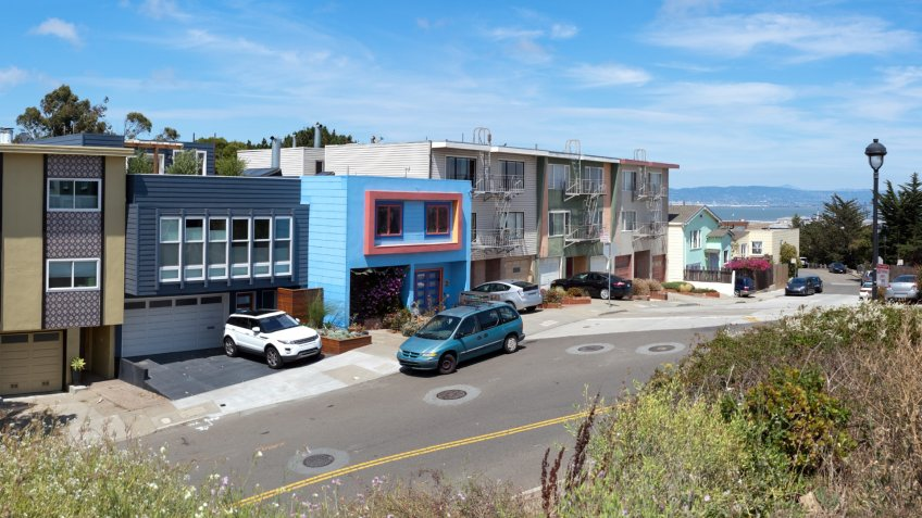 Panoramic image of San Francisco's Bernal Heights neighborhood.