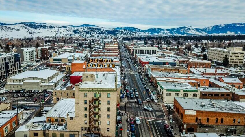 Aerial View of Main Street in downtown Bozeman Montana.