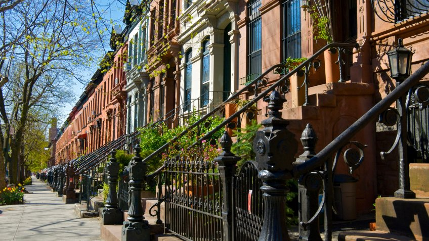 """A typical row of late 19th century row homes are seen in Park Slope, Brooklyn, New York City."