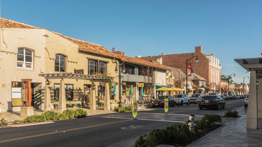 Burlingame,California,USA - December 10, 2017 : View of the Main Street of Burlingame - Image.