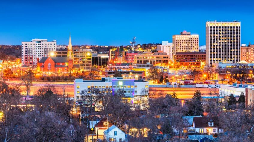 Colorado Springs, Colorado, USA downtown city skyline at dusk.