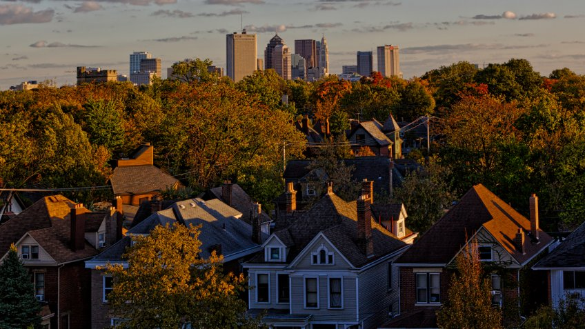Looking south at Columbus, Ohio in the distance.