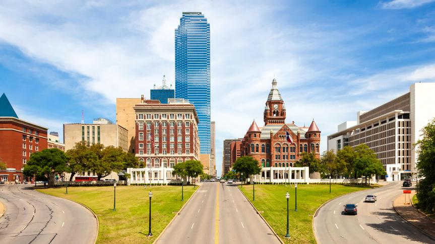 View over the Dealey Plaza in the city of Dallas.