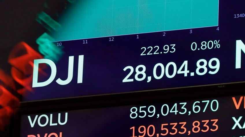 Mandatory Credit: Photo by Richard Drew/AP/Shutterstock (10476285l)A board above the trading floor shows the closing number for the Dow Jones industrial average at the New York Stock Exchange, .
