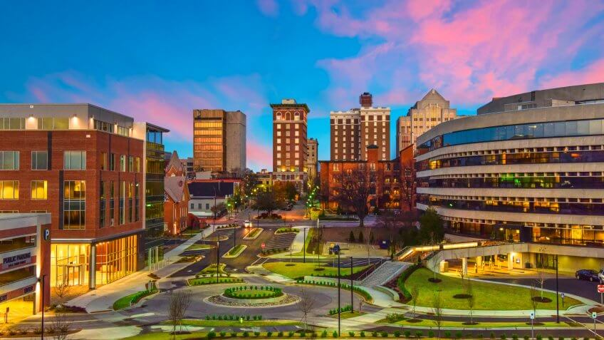 Downtown Greenville, SC South Carolina Skyline Cityscape at Sunrise.
