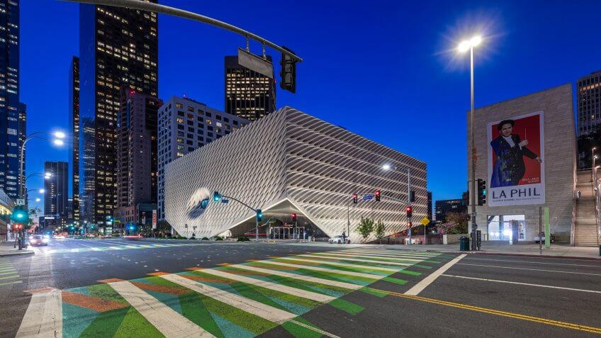 LOS ANGELES, CALIFORNIA - JAN 23rd, 2018: The Broad Museum showcased an installation by Carlos Cruz-Diez between September 2017 and January 2018 in Downtown LA.