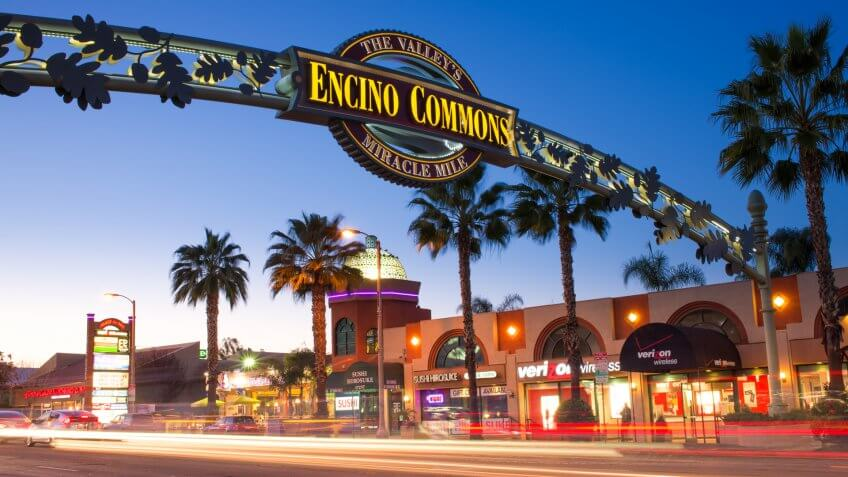 Los Angeles, USA - February 1, 2014: A photo of the Encino Commons sign in Encino, California.