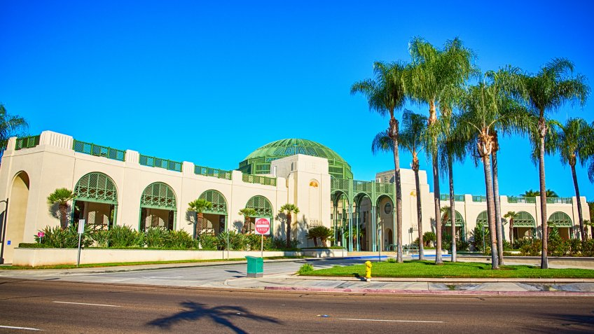 The unique architecture of the public city hall located in Escondido, California which is in the northern portion of San Diego County.