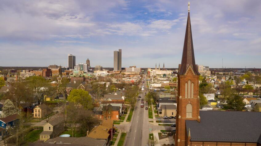 Aerial view over the downtown city skyline of Fort Wayne Indiana USA.