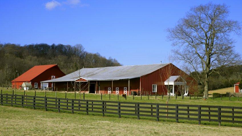 Tennessee Farmland in Winter near Franklin Tennessee , - Image.