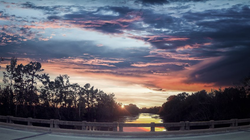 Dramatic sunset cloudy sky over Goldsboro, North Carolina, USA - Image.