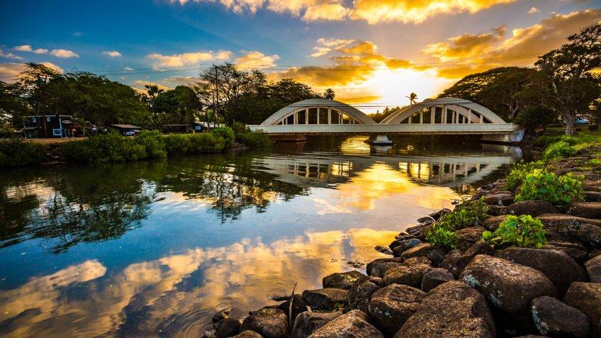 Sunrise over the Anahulu Stream Bridge in Haleiwa, Oahu, Hawaii - Image.