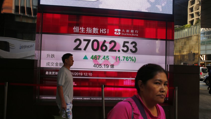 Mandatory Credit: Photo by FAZRY ISMAIL/EPA-EFE/Shutterstock (10484446d)People walk in front of an electronic board showing the Hang Seng index in Hong Kong, China, 25 November 2019.