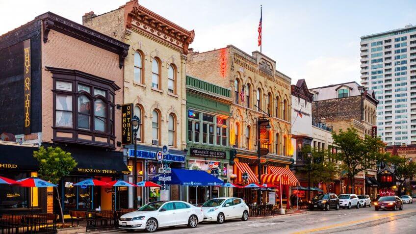 Milwaukee, Wisconsin, USA - Historic Old World Third Street,  one of the hubs of Milwaukee's nightlife.
