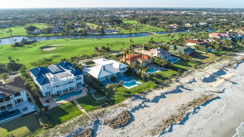 A gorgeous aerial view of Ponte Vedra Beach in Jacksonville, Florida.