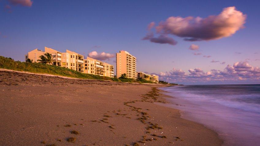 Beachfront condominiums and the Atlantic Ocean at Jupiter Island, Florida.