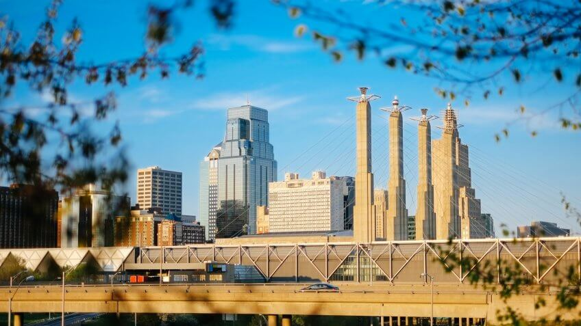 Looking East at downtown Kansas City, Missouri.