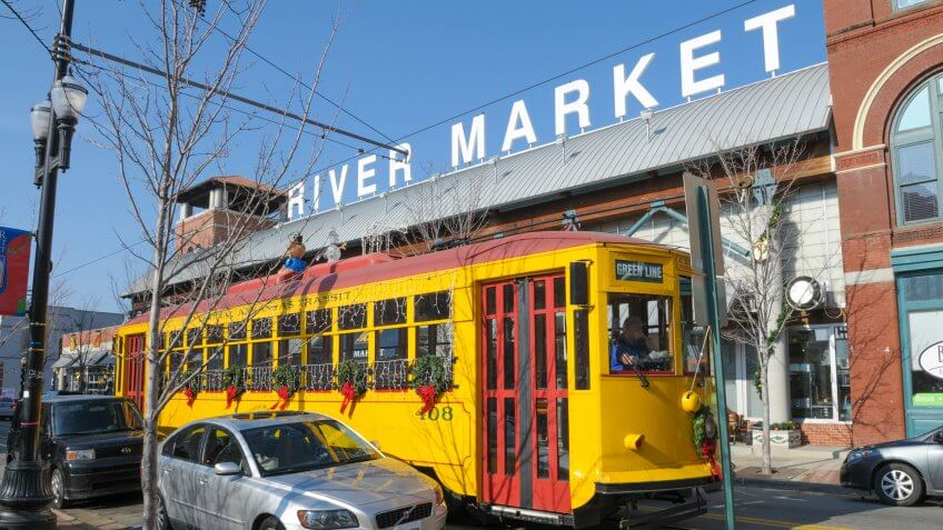 Little Rock, Arkansas, USA - December 18th 2010: River Rail Trolley in the River Market District transports locals and tourists between Little Rock and North Little Rock.