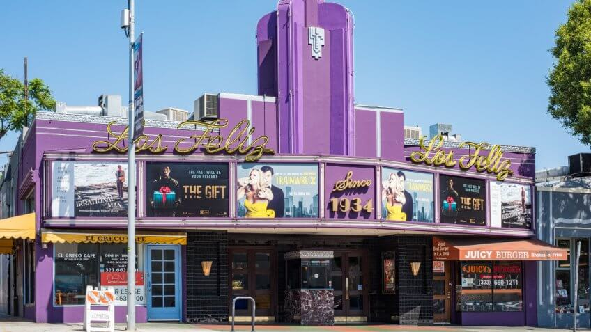 Los Angeles, CA: June 9, 2014: Los Feliz Theater, a neighborhood independent theater in the Los Feliz area.