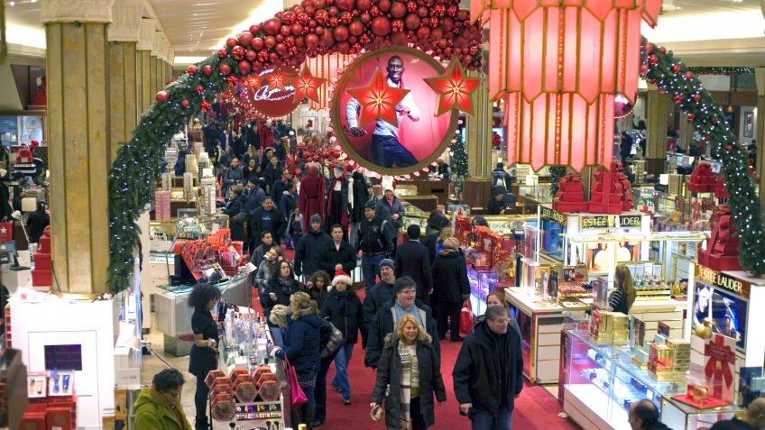 NEW YORK, NEW YORK - DECEMBER 18: Inside Macy's department store during Christmas.