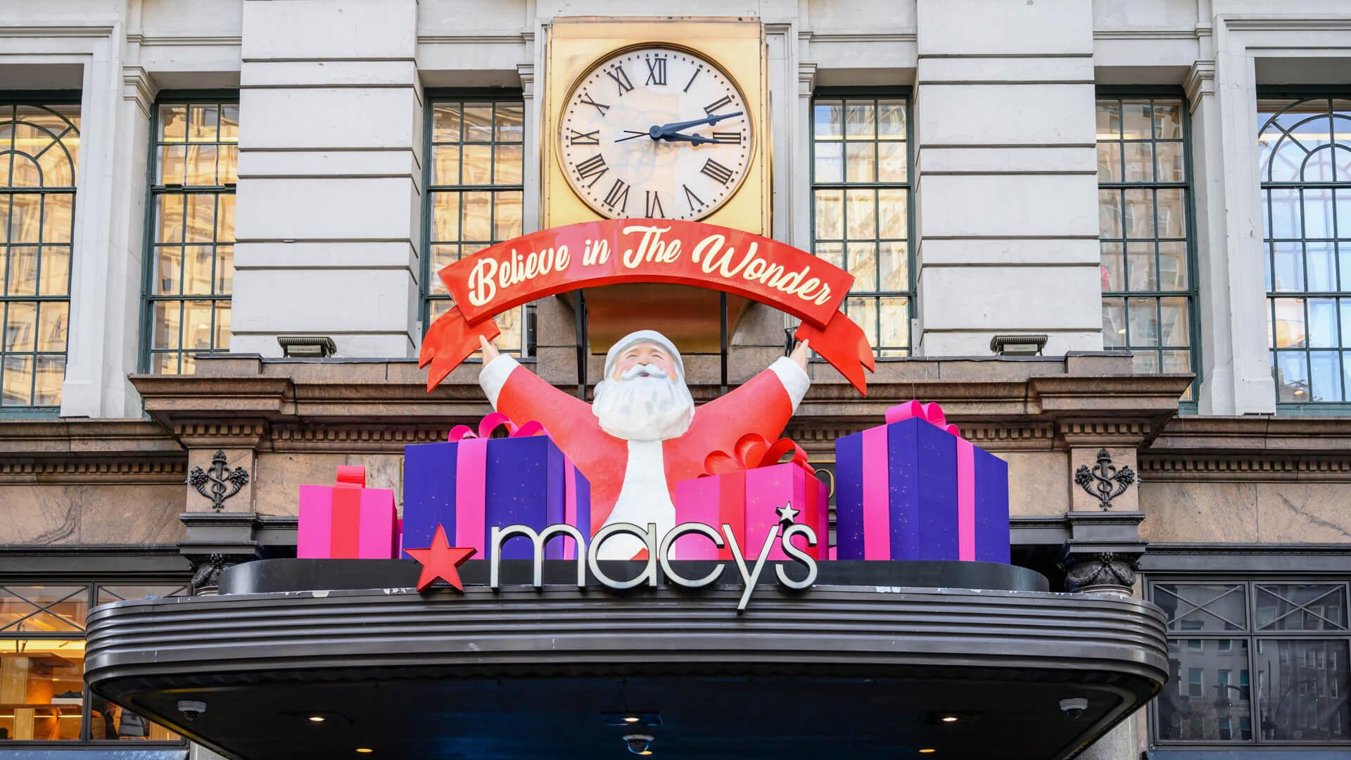 New York, New York, USA - November 15, 2019: Macy's Christmas decorations at Broadway Herald Square entrance.