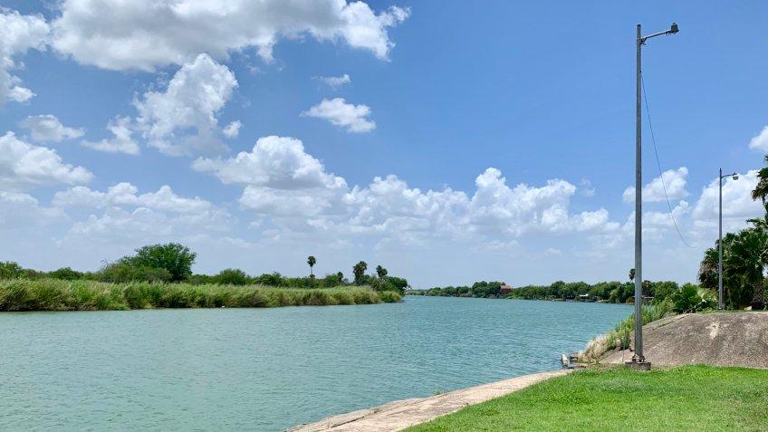 McAllen, TX / USA - June 22, 2019: Rio Grande river on the US side - Image.