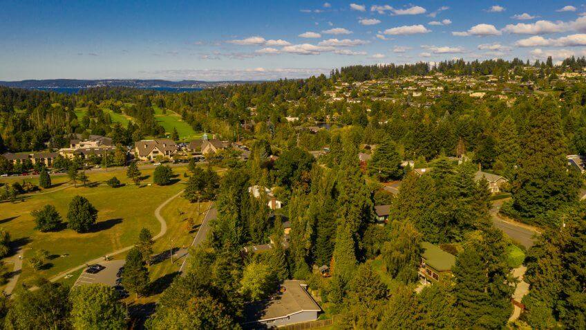 Aerial drone photography Medina Washington USA - Image.