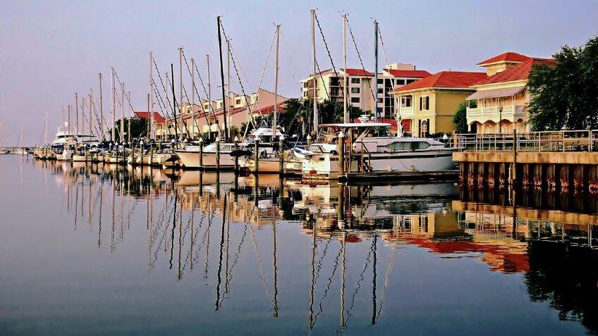 Yachts anchored at Port Royal overlooking Pensacola Bay - Pensacola, Florida.