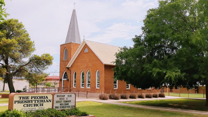 Arizona / USA - July 12, 2019 Peoria Presbyterian Church - Built in 1899 the church is the oldest building in the original town site.