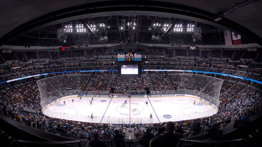 The Pepsi Center in Denver was the site for Air Force's first appearance in the NCAA Hockey Tournament March 24.