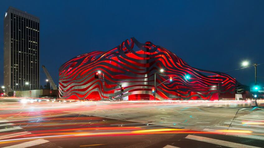 LOS ANGELES, CALIFORNIA - JULY 30: Exterior of the Petersen Automotive Museum on Wilshire Blvd on July 30, 2017 in Los Angeles, California.