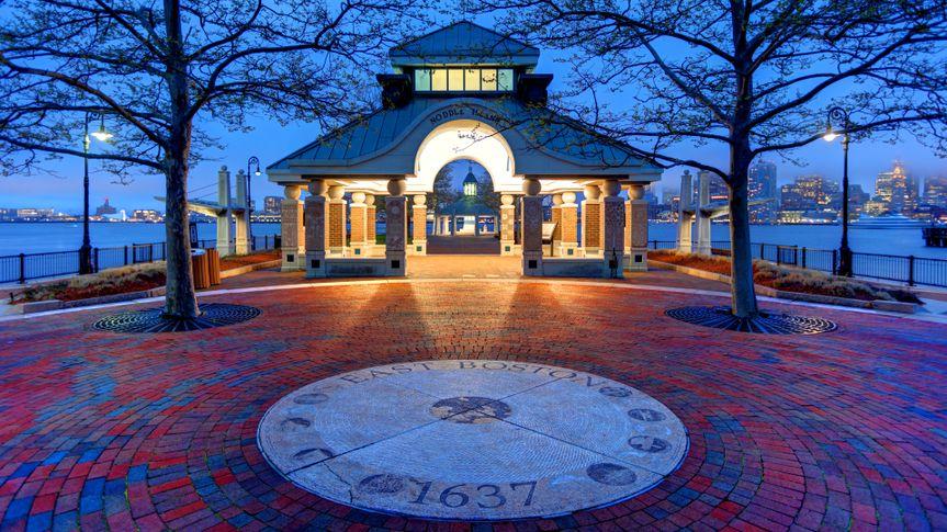 Boston, Massachusetts, USA - May 1, 2017: Evening view of the Piers Park brick walkway located in the East Boston neighborhood.
