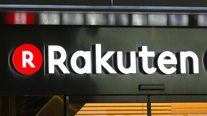 SHIBUYA, TOKYO, JAPAN - CIRCA AUGUST 2018 : Logo of RAKUTEN company.