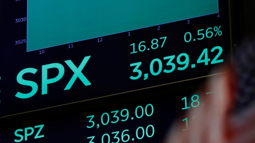 Mandatory Credit: Photo by Richard Drew/AP/Shutterstock (10459072a)A screen above the trading floor of the New York Stock Exchange shows the closing number for the S&P 500 index,.