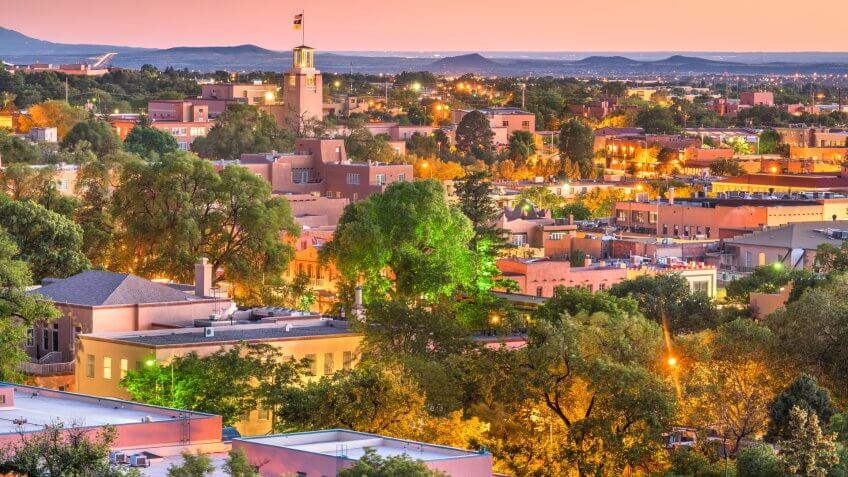 Santa Fe, New Mexico, USA downtown skyline at dusk.