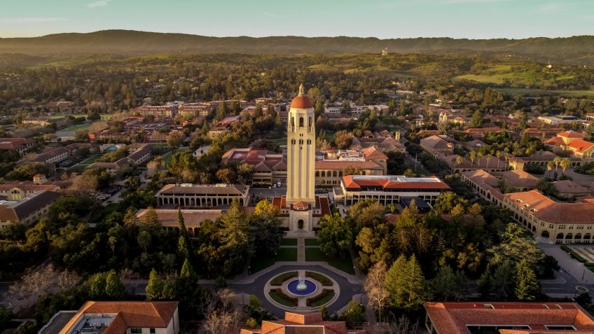 Stanford, California, USA - March 17, 2019: Aerial view of Stanford University in Stanford California.