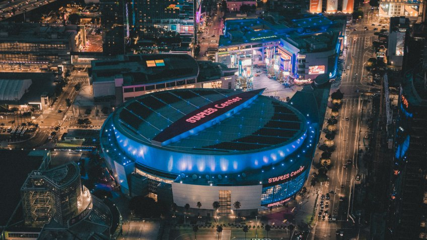 Los Angeles, California, USA - August 10, 2017: Aerial view of the Staples Center Arena at night.