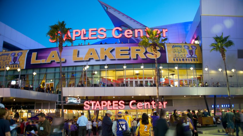 """Los Angeles, California, USA - October 10th 2010: Exterior of the Staples Center in Downtown Los Angeles, during a home game of the Los Angeles Lakers."